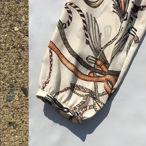 Zara Printed Layered Ruffle Feather Rope Blouse